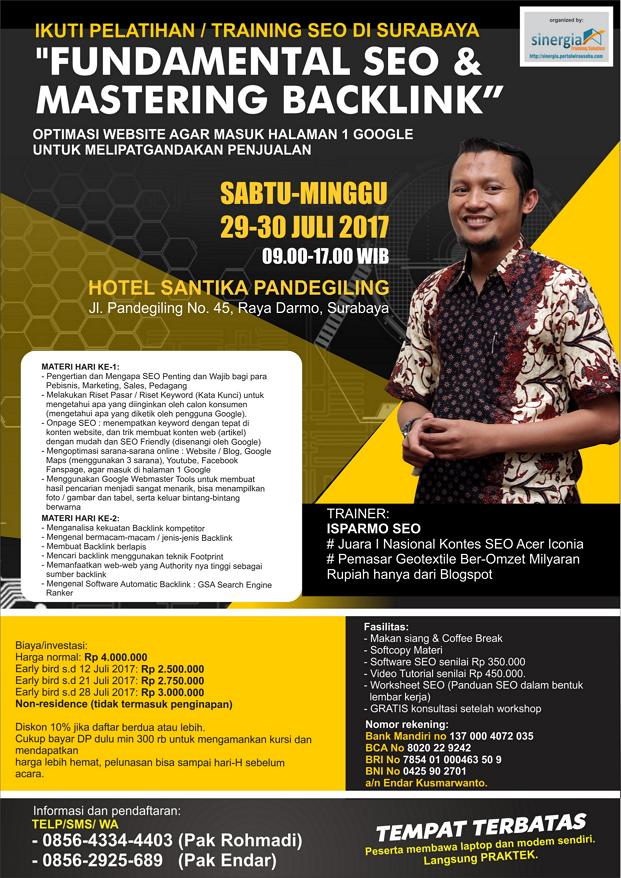 Pelatihan kursus seo di Surabaya 29-30 Juli 2017