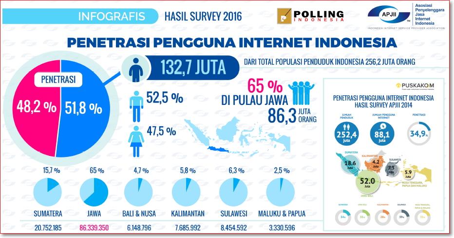 Data Pengguna Internet di Indonesia tahun 2016